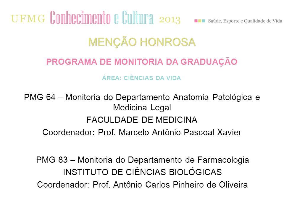 MENÇÃO HONROSA PMG 83 – Monitoria do Departamento de Farmacologia INSTITUTO DE CIÊNCIAS BIOLÓGICAS Coordenador: Prof. Antônio Carlos Pinheiro de Olive