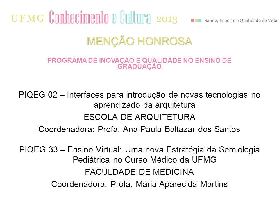 PIQEG 02 – Interfaces para introdução de novas tecnologias no aprendizado da arquitetura ESCOLA DE ARQUITETURA Coordenadora: Profa. Ana Paula Baltazar
