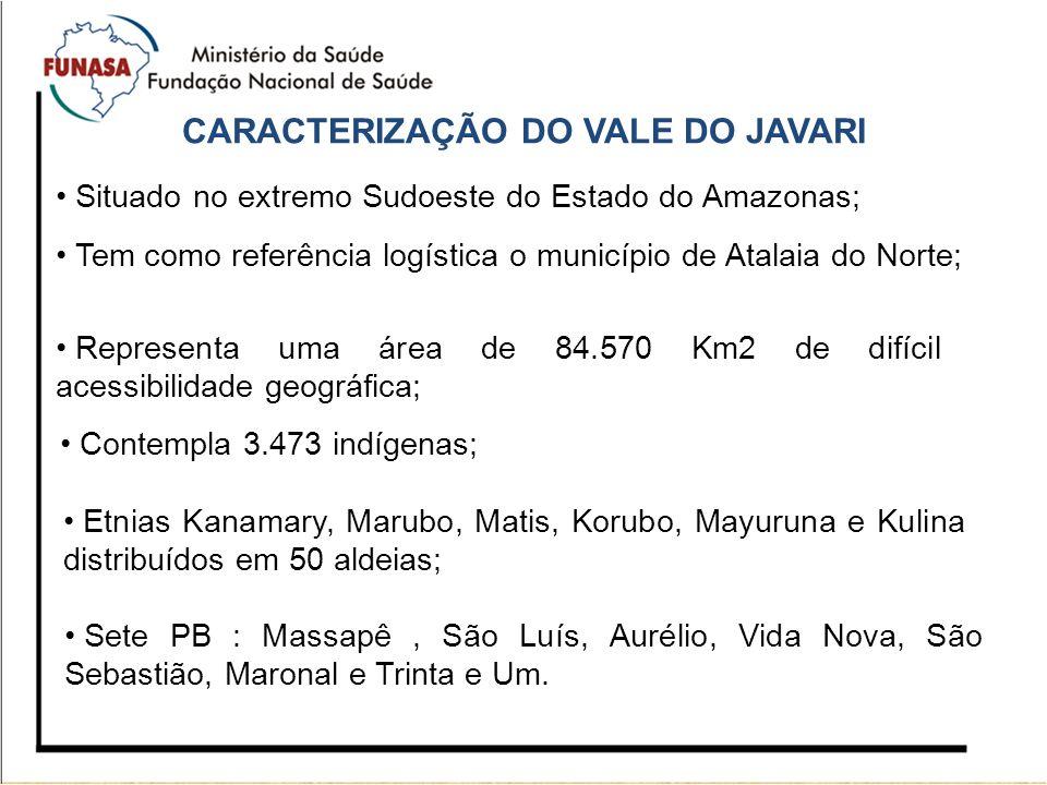 CARACTERIZAÇÃO DO VALE DO JAVARI Situado no extremo Sudoeste do Estado do Amazonas; Tem como referência logística o município de Atalaia do Norte; Rep