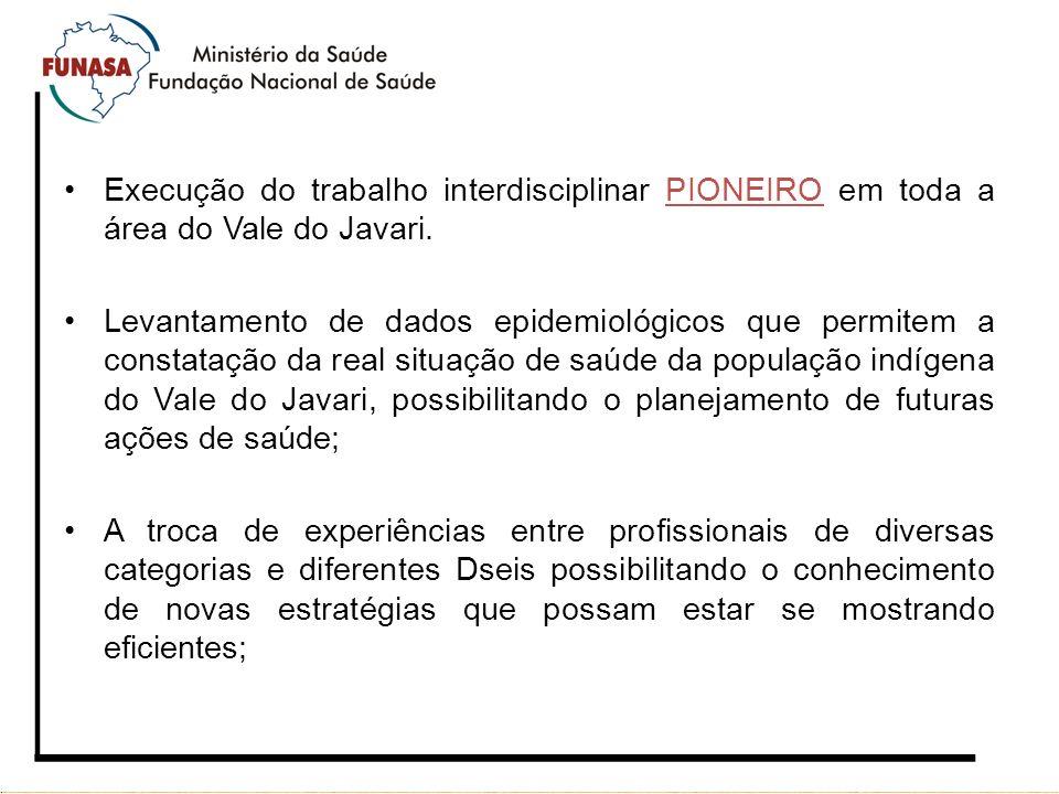 Execução do trabalho interdisciplinar PIONEIRO em toda a área do Vale do Javari. Levantamento de dados epidemiológicos que permitem a constatação da r