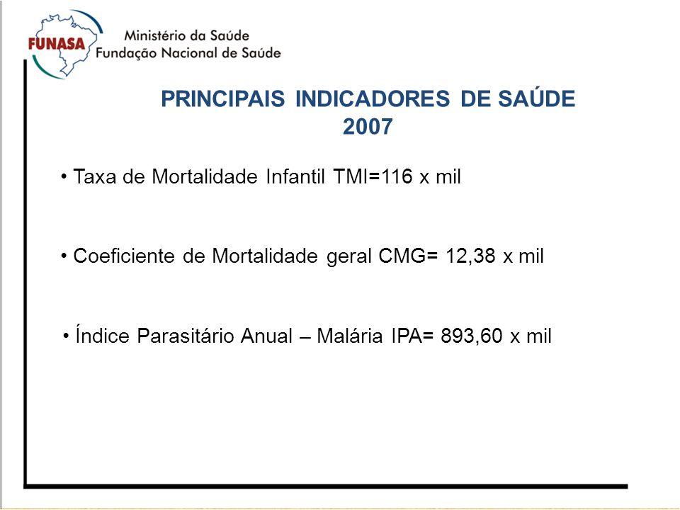 PRINCIPAIS INDICADORES DE SAÚDE 2007 Taxa de Mortalidade Infantil TMI=116 x mil Coeficiente de Mortalidade geral CMG= 12,38 x mil Índice Parasitário A