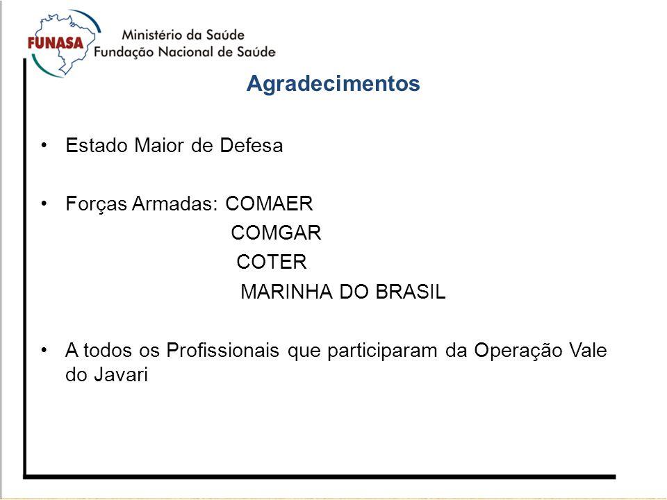 Agradecimentos Estado Maior de Defesa Forças Armadas: COMAER COMGAR COTER MARINHA DO BRASIL A todos os Profissionais que participaram da Operação Vale