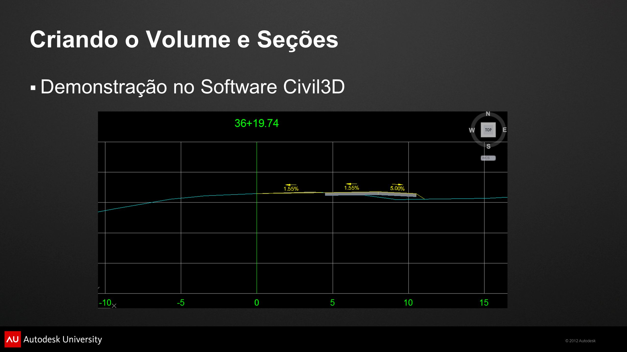 © 2012 Autodesk Criando o Volume e Seções Demonstração no Software Civil3D