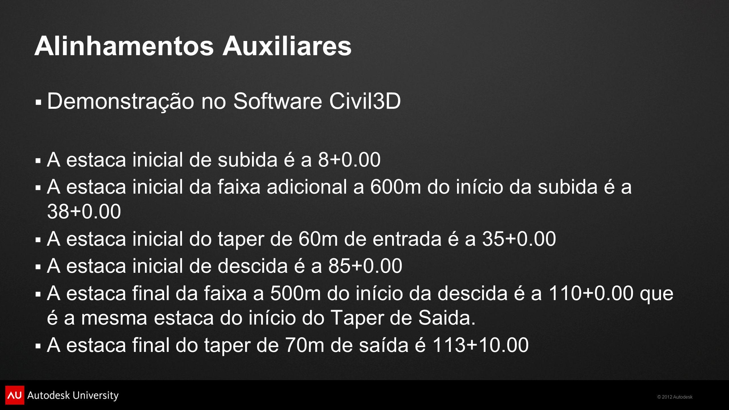 © 2012 Autodesk Alinhamentos Auxiliares Demonstração no Software Civil3D A estaca inicial de subida é a 8+0.00 A estaca inicial da faixa adicional a 6