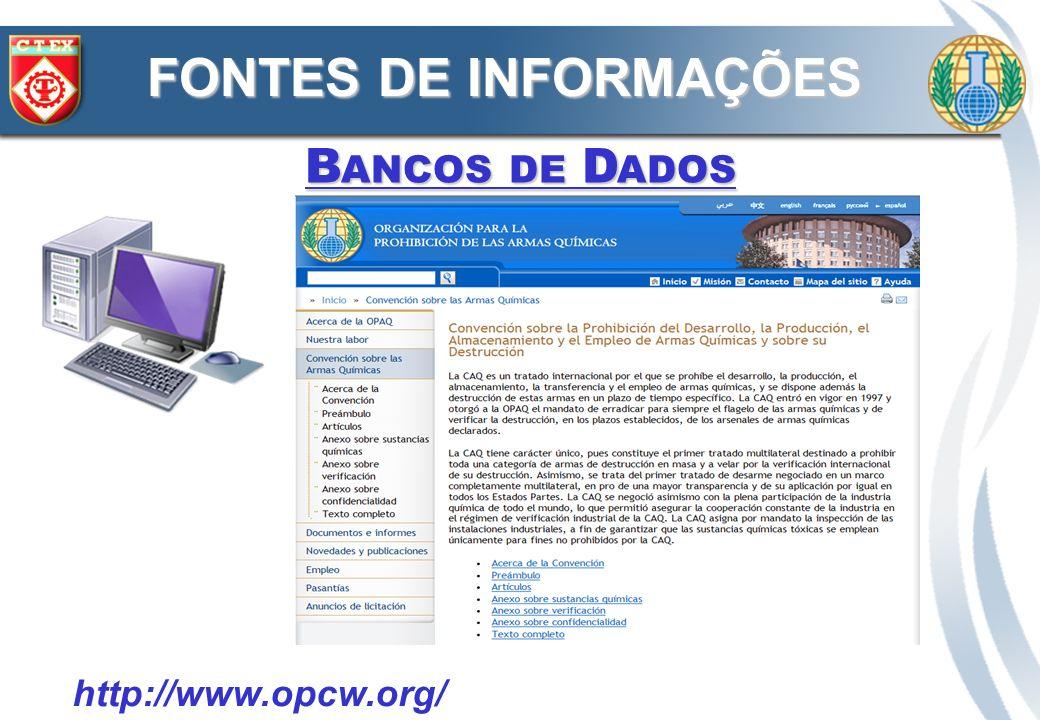 B ANCOS DE D ADOS FONTES DE INFORMAÇÕES http://www.who.int/csr/delibepidemics/biochem_threats.pdf