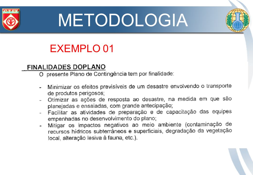 METODOLOGIA EXEMPLO 01 OBJETIVOS ESPECÍFICOS