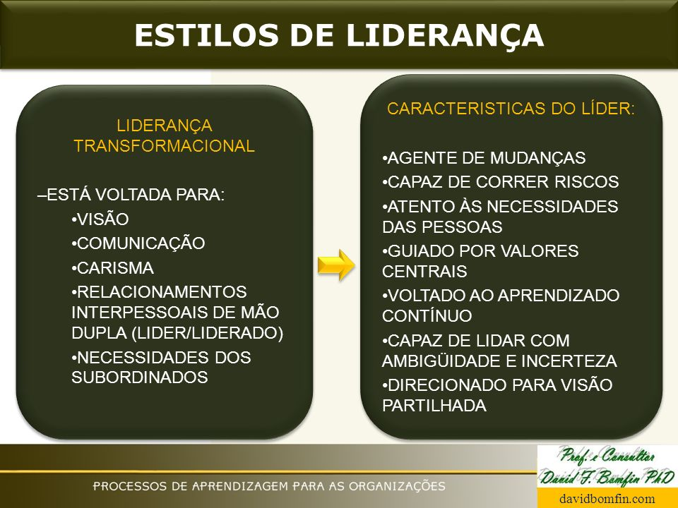 ESTILOS DE LIDERANÇA LIDERANÇA TRANSFORMACIONAL –ESTÁ VOLTADA PARA: VISÃO COMUNICAÇÃO CARISMA RELACIONAMENTOS INTERPESSOAIS DE MÃO DUPLA (LIDER/LIDERA