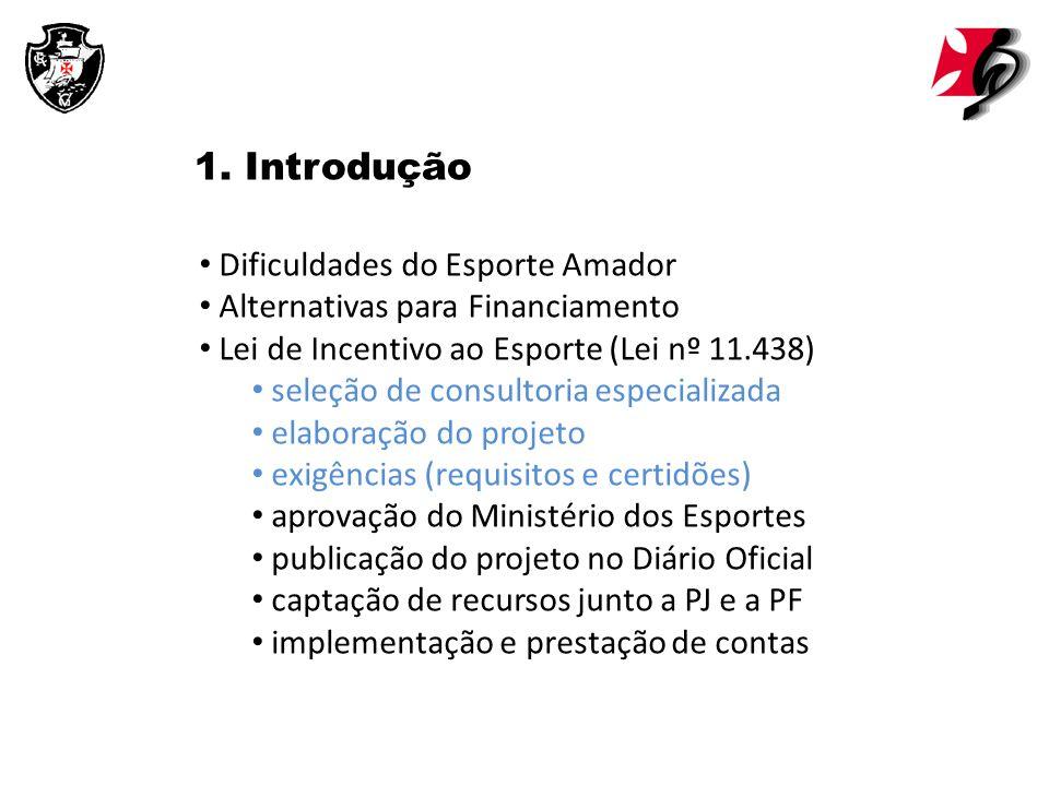 1. Introdução Dificuldades do Esporte Amador Alternativas para Financiamento Lei de Incentivo ao Esporte (Lei nº 11.438) seleção de consultoria especi