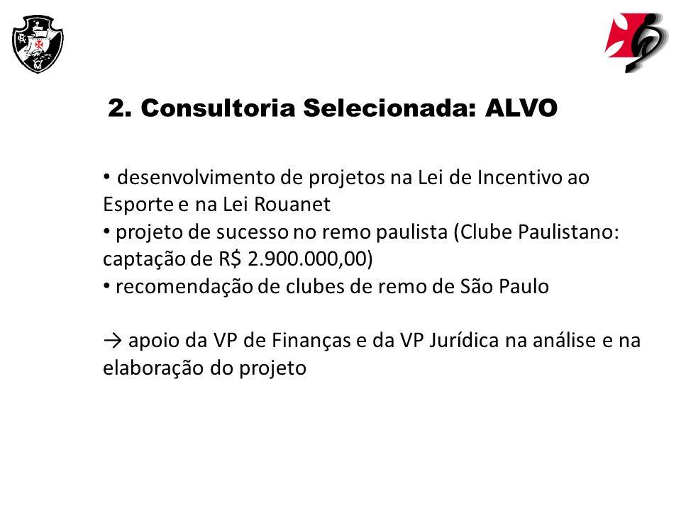 2. Consultoria Selecionada: ALVO desenvolvimento de projetos na Lei de Incentivo ao Esporte e na Lei Rouanet projeto de sucesso no remo paulista (Club