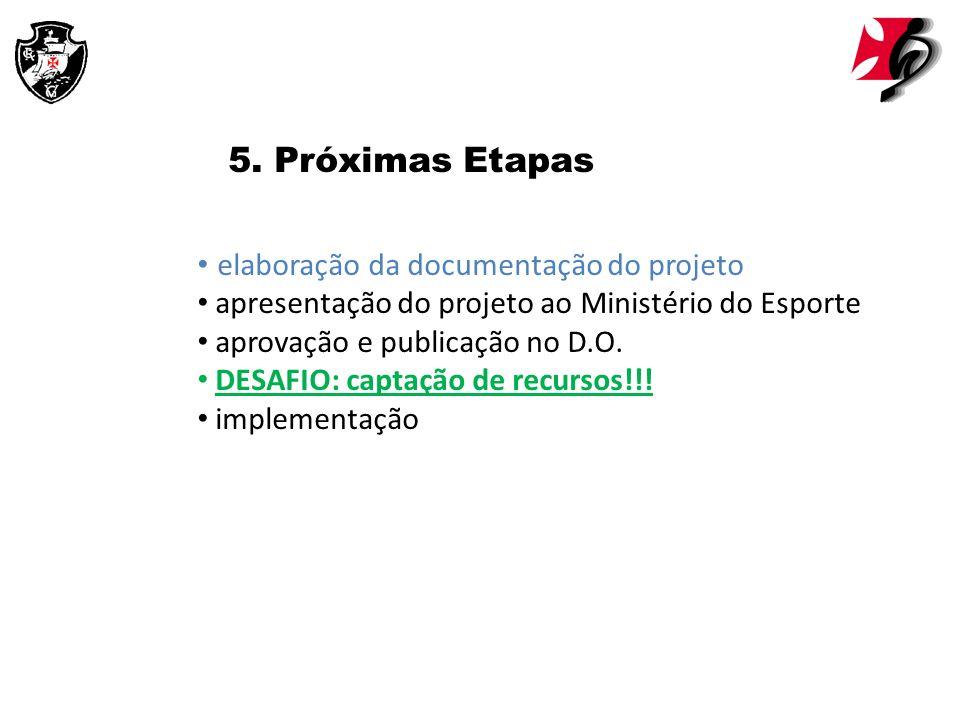 5. Próximas Etapas elaboração da documentação do projeto apresentação do projeto ao Ministério do Esporte aprovação e publicação no D.O. DESAFIO: capt