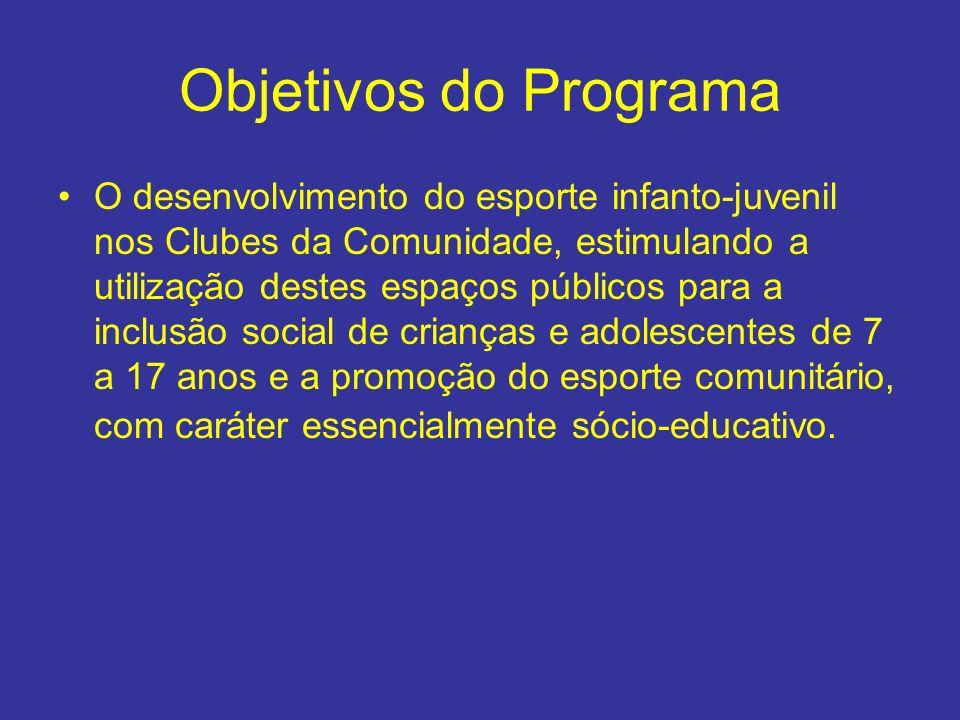 Objetivos do Programa O desenvolvimento do esporte infanto-juvenil nos Clubes da Comunidade, estimulando a utilização destes espaços públicos para a i