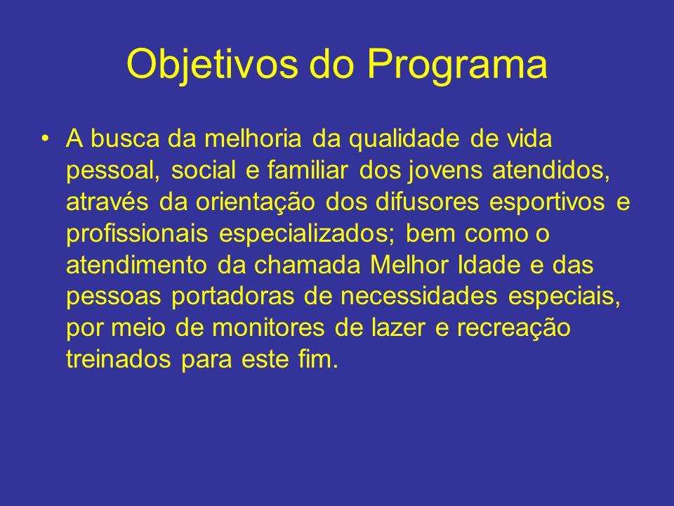 Objetivos do Programa A busca da melhoria da qualidade de vida pessoal, social e familiar dos jovens atendidos, através da orientação dos difusores es