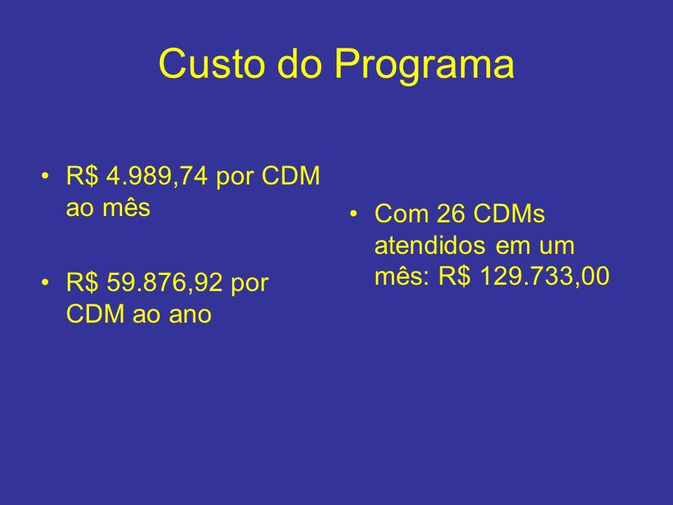 Custo do Programa R$ 4.989,74 por CDM ao mês R$ 59.876,92 por CDM ao ano Com 26 CDMs atendidos em um mês: R$ 129.733,00