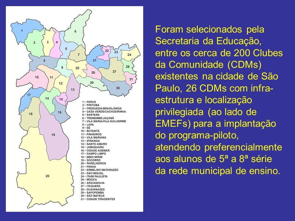 Foram selecionados pela Secretaria da Educação, entre os cerca de 200 Clubes da Comunidade (CDMs) existentes na cidade de São Paulo, 26 CDMs com infra