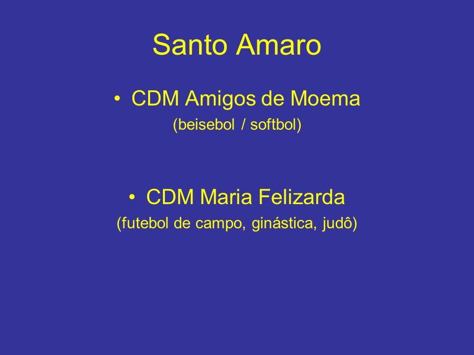Santo Amaro CDM Amigos de Moema (beisebol / softbol) CDM Maria Felizarda (futebol de campo, ginástica, judô)
