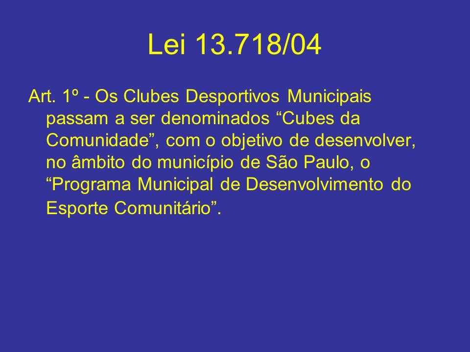 Lei 13.718/04 Art. 1º - Os Clubes Desportivos Municipais passam a ser denominados Cubes da Comunidade, com o objetivo de desenvolver, no âmbito do mun