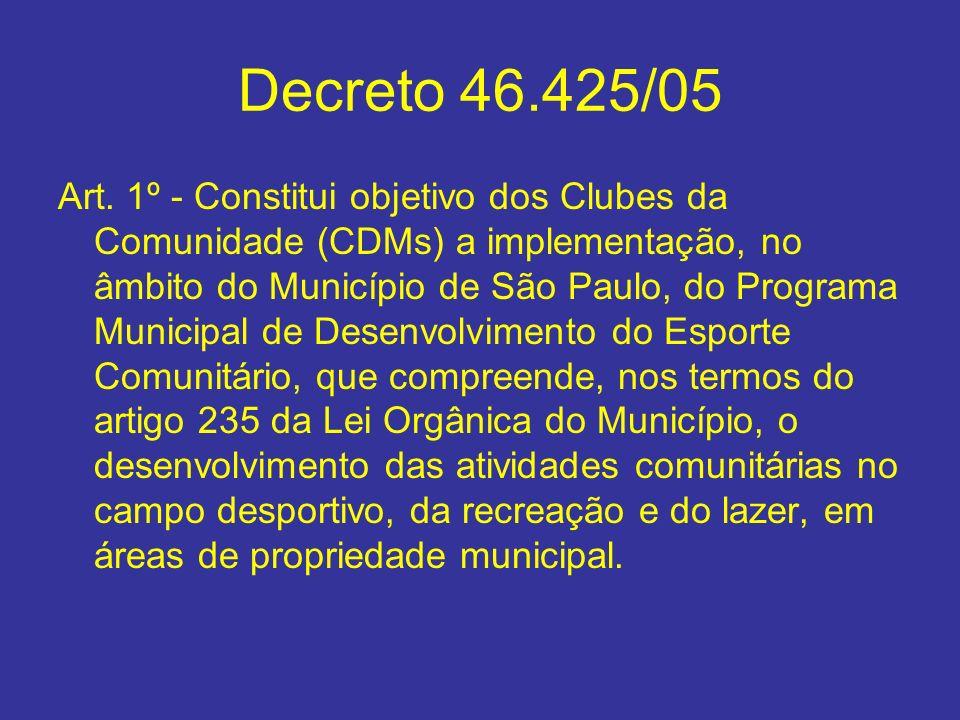 Decreto 46.425/05 Art. 1º - Constitui objetivo dos Clubes da Comunidade (CDMs) a implementação, no âmbito do Município de São Paulo, do Programa Munic