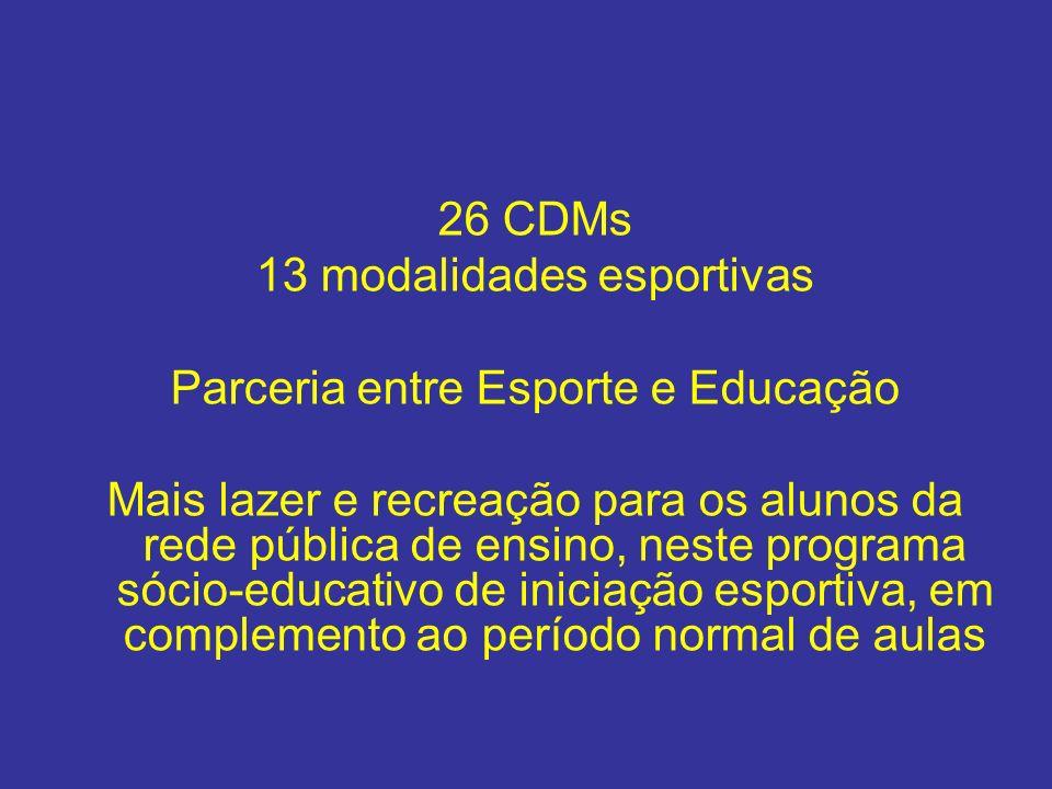 26 CDMs 13 modalidades esportivas Parceria entre Esporte e Educação Mais lazer e recreação para os alunos da rede pública de ensino, neste programa só