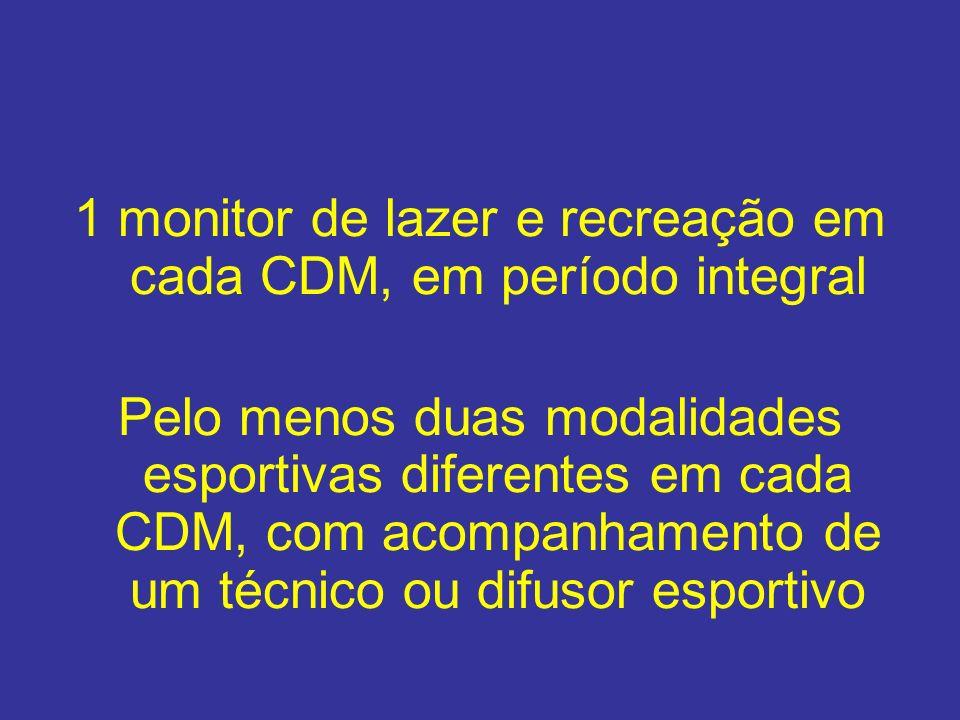 1 monitor de lazer e recreação em cada CDM, em período integral Pelo menos duas modalidades esportivas diferentes em cada CDM, com acompanhamento de u