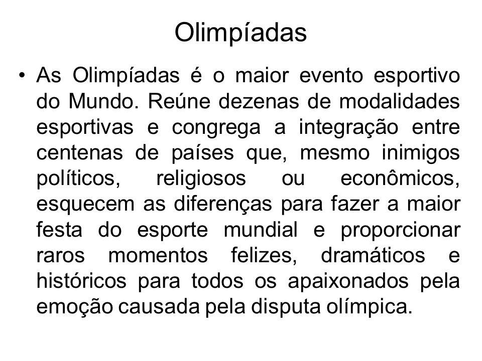 JOGOS OLÍMPICOS - Os Jogos Olímpicos compõem um evento desportivo que ocorre a cada quatro anos, e que reúne atletas de quase todos os países do mundo, para competirem em várias categorias de desporto como, por exemplo, o Atletismo, Natação ou a Ginástica.AtletismoNatação Ginástica - Aos três primeiros classificados de cada prova, são atribuídas medalhas de ouro (primeiro classificado), prata (segundo classificado) e bronze (terceiro classificado).