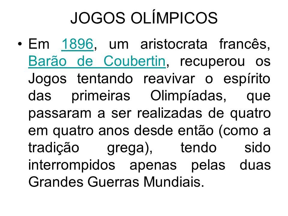 JOGOS OLÍMPICOS e POLÍTICA As Olimpíadas, em função de sua visibilidade na mídia, serviram de palco de manifestações políticas, desvirtuando seu principal objetivo de promover a paz e a amizade entre os povos.