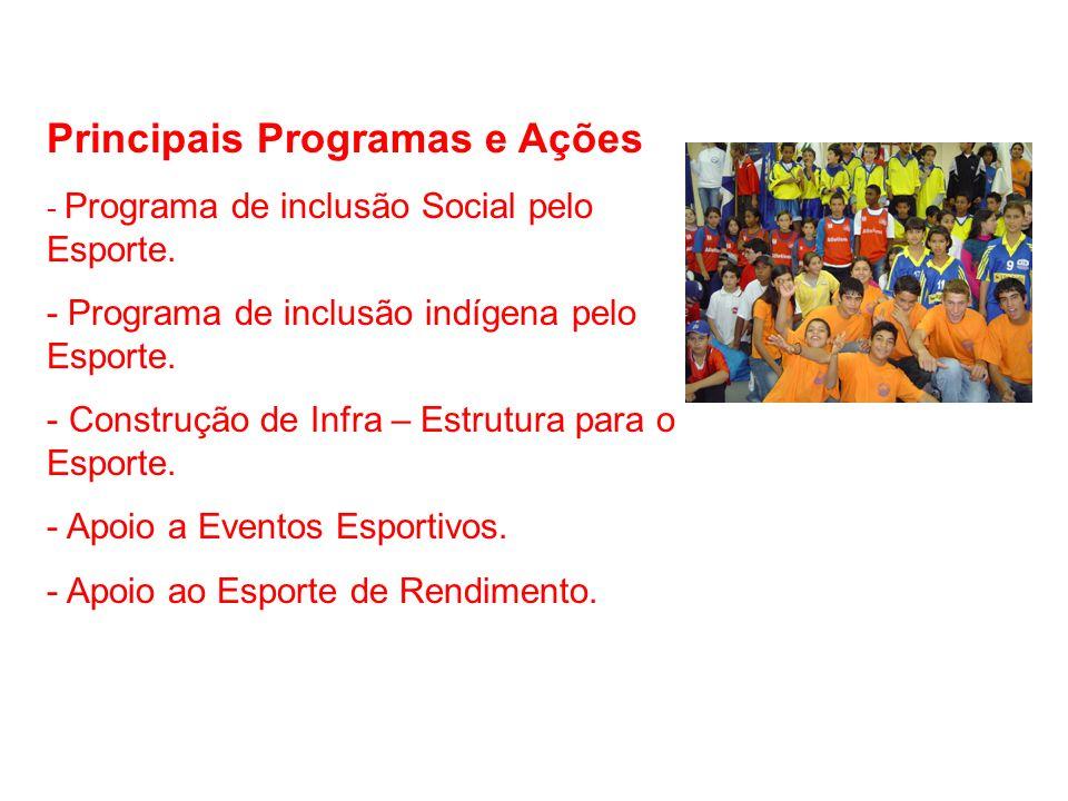 Principais Programas e Ações - Programa de inclusão Social pelo Esporte. - Programa de inclusão indígena pelo Esporte. - Construção de Infra – Estrutu