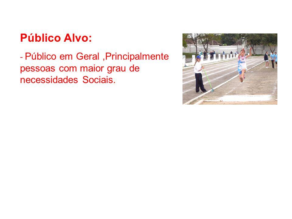Público Alvo: - Público em Geral,Principalmente pessoas com maior grau de necessidades Sociais.