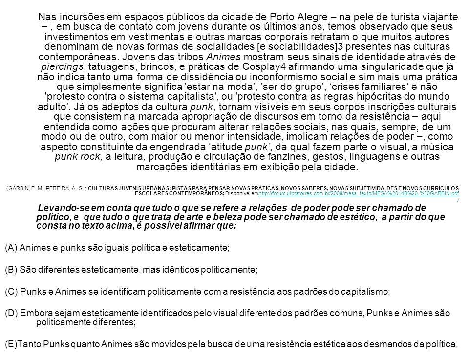 Nas incursões em espaços públicos da cidade de Porto Alegre – na pele de turista viajante –, em busca de contato com jovens durante os últimos anos, t