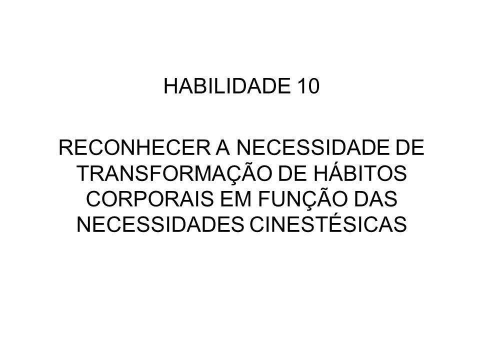 HABILIDADE 10 RECONHECER A NECESSIDADE DE TRANSFORMAÇÃO DE HÁBITOS CORPORAIS EM FUNÇÃO DAS NECESSIDADES CINESTÉSICAS