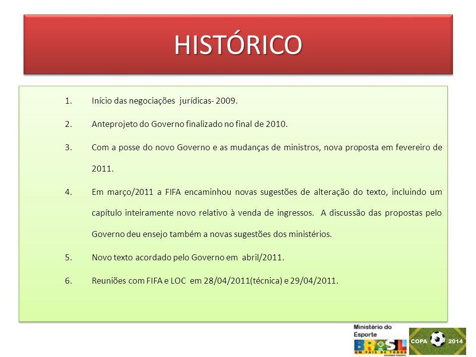 HISTÓRICOHISTÓRICO 1.Início das negociações jurídicas- 2009. 2.Anteprojeto do Governo finalizado no final de 2010. 3.Com a posse do novo Governo e as