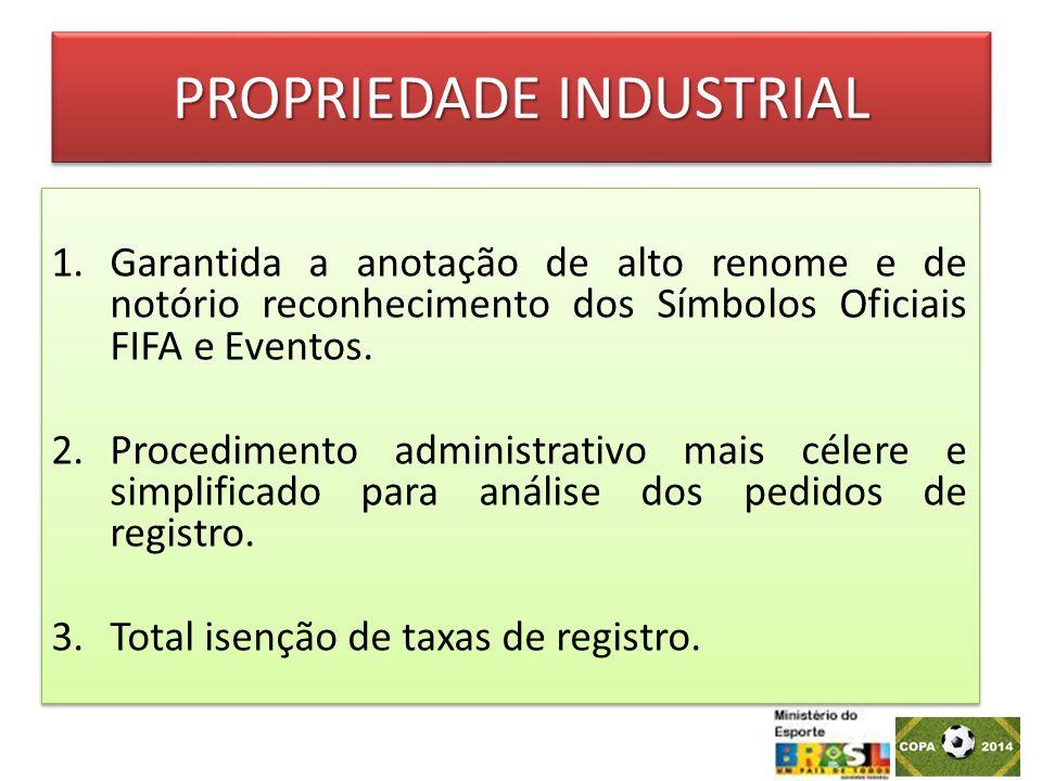 PROPRIEDADE INDUSTRIAL 1.Garantida a anotação de alto renome e de notório reconhecimento dos Símbolos Oficiais FIFA e Eventos. 2.Procedimento administ