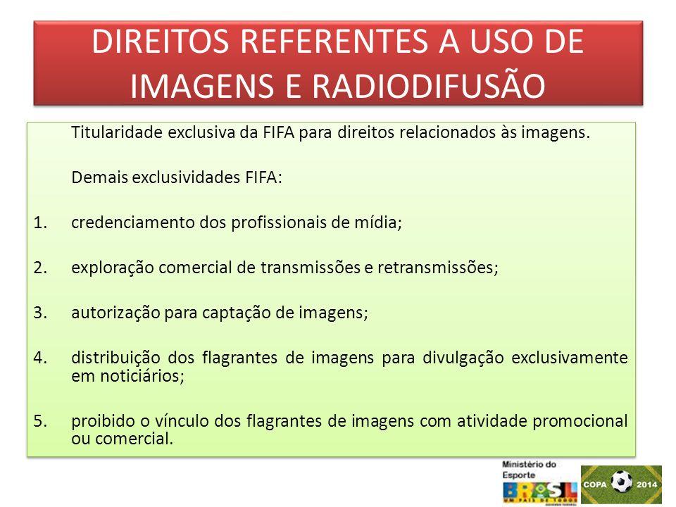 DIREITOS REFERENTES A USO DE IMAGENS E RADIODIFUSÃO Titularidade exclusiva da FIFA para direitos relacionados às imagens. Demais exclusividades FIFA: