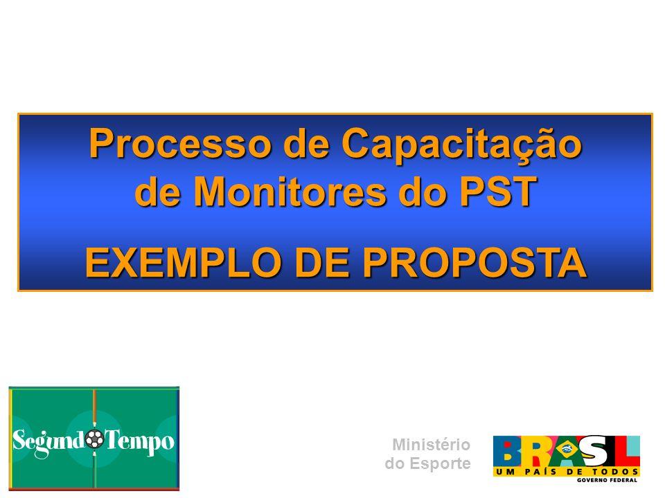 Processo de Capacitação de Monitores do PST EXEMPLO DE PROPOSTA Ministério do Esporte