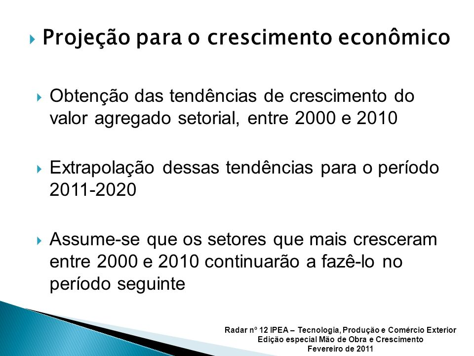 Projeção para o crescimento econômico Obtenção das tendências de crescimento do valor agregado setorial, entre 2000 e 2010 Extrapolação dessas tendências para o período 2011-2020 Assume-se que os setores que mais cresceram entre 2000 e 2010 continuarão a fazê-lo no período seguinte Radar nº 12 IPEA – Tecnologia, Produção e Comércio Exterior Edição especial Mão de Obra e Crescimento Fevereiro de 2011