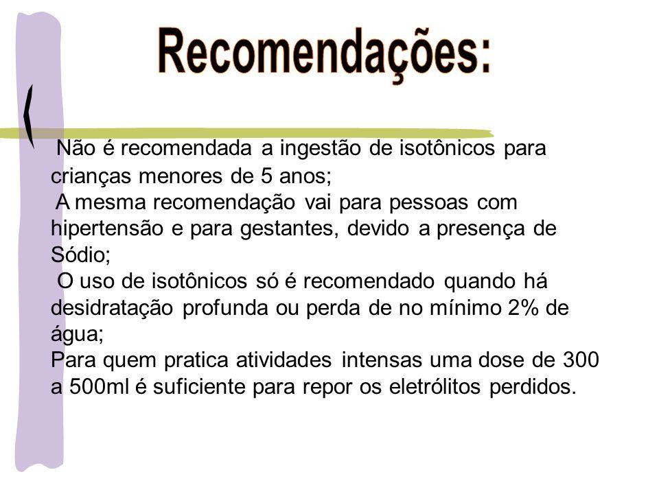 Não é recomendada a ingestão de isotônicos para crianças menores de 5 anos; A mesma recomendação vai para pessoas com hipertensão e para gestantes, de