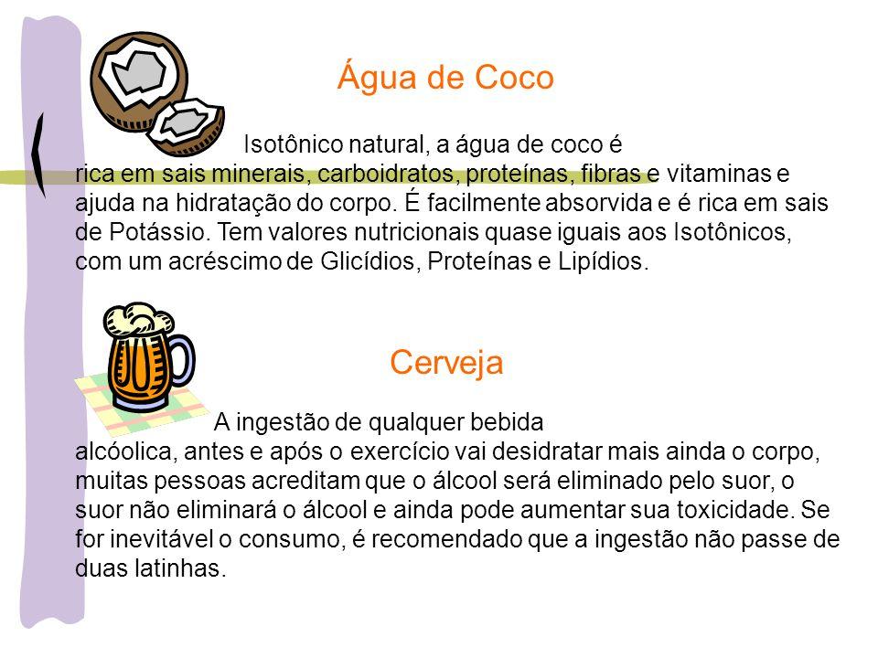 Água de Coco Isotônico natural, a água de coco é rica em sais minerais, carboidratos, proteínas, fibras e vitaminas e ajuda na hidratação do corpo. É