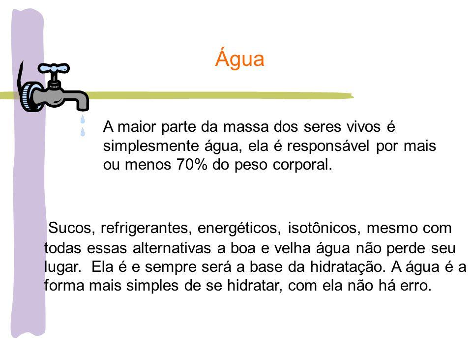 Água A maior parte da massa dos seres vivos é simplesmente água, ela é responsável por mais ou menos 70% do peso corporal. Sucos, refrigerantes, energ