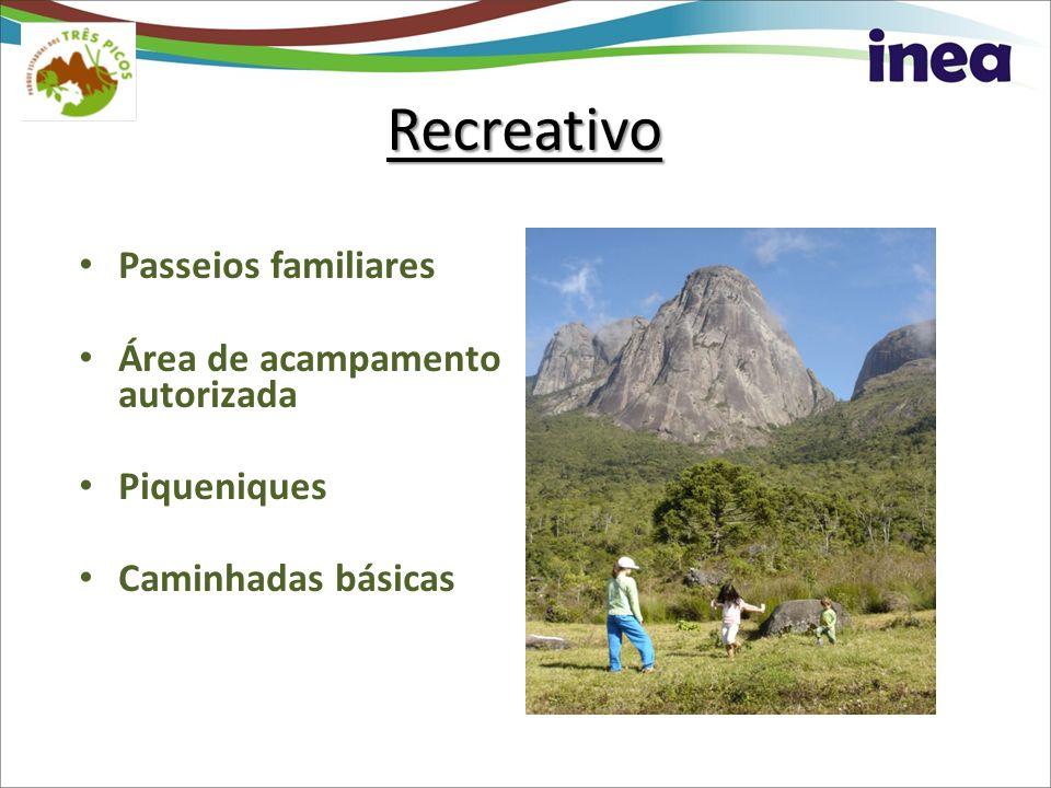 Recreativo Passeios familiares Área de acampamento autorizada Piqueniques Caminhadas básicas