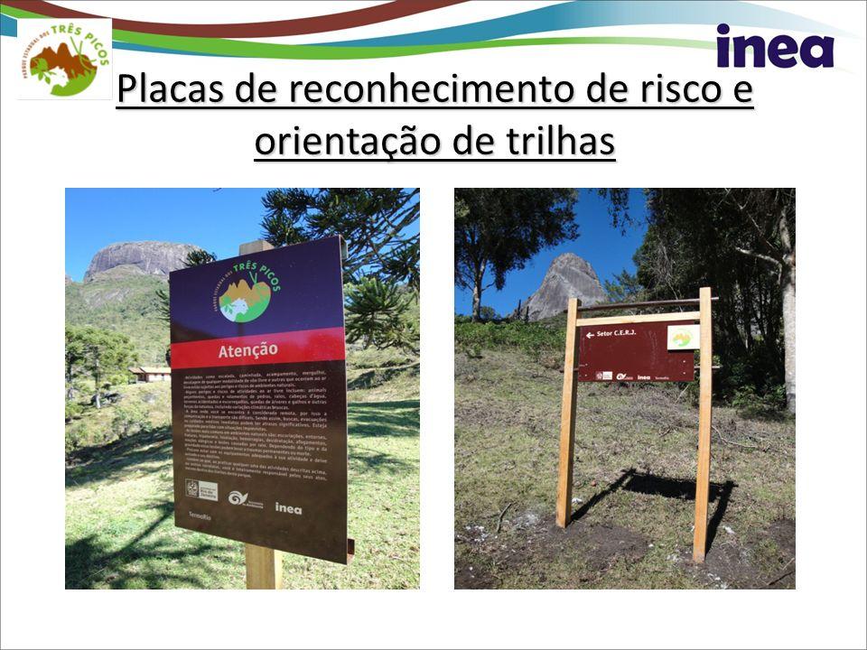 Placas de reconhecimento de risco e orientação de trilhas