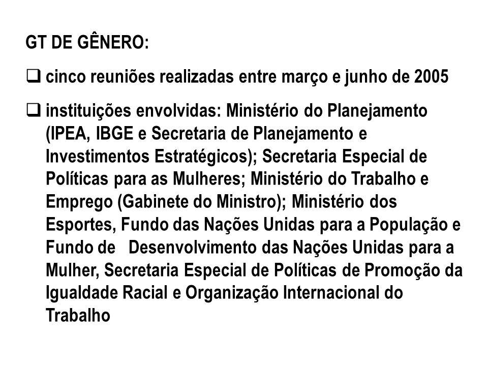GT DE GÊNERO: cinco reuniões realizadas entre março e junho de 2005 instituições envolvidas: Ministério do Planejamento (IPEA, IBGE e Secretaria de Pl