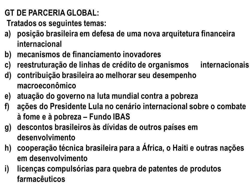 GT DE PARCERIA GLOBAL: Tratados os seguintes temas: a)posição brasileira em defesa de uma nova arquitetura financeira internacional b)mecanismos de fi