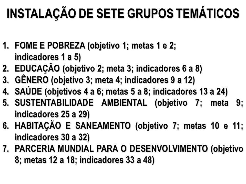 INSTALAÇÃO DE SETE GRUPOS TEMÁTICOS 1.FOME E POBREZA (objetivo 1; metas 1 e 2; indicadores 1 a 5) 2.EDUCAÇÃO (objetivo 2; meta 3; indicadores 6 a 8) 3