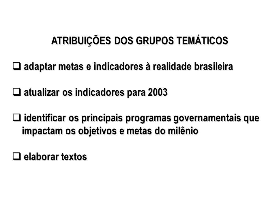 ATRIBUIÇÕES DOS GRUPOS TEMÁTICOS adaptar metas e indicadores à realidade brasileira adaptar metas e indicadores à realidade brasileira atualizar os in