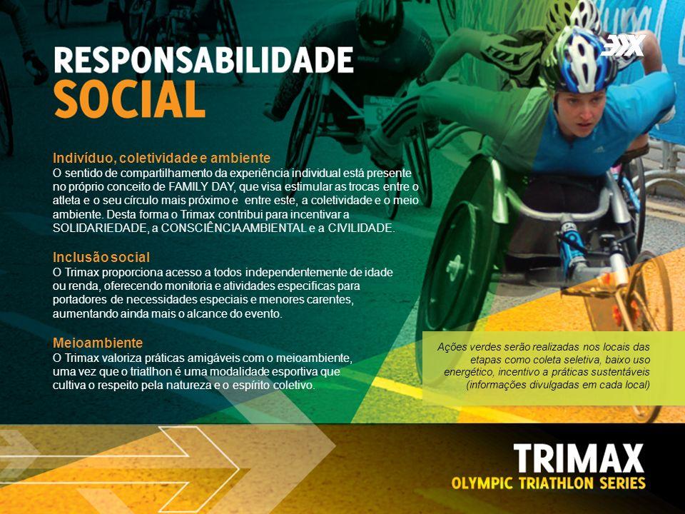 Inclusão social O Trimax proporciona acesso a todos independentemente de idade ou renda, oferecendo monitoria e atividades especificas para portadores de necessidades especiais e menores carentes, aumentando ainda mais o alcance do evento.