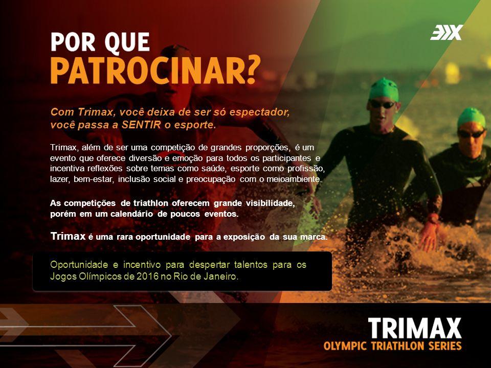 Oportunidade e incentivo para despertar talentos para os Jogos Olímpicos de 2016 no Rio de Janeiro. As competições de triathlon oferecem grande visibi