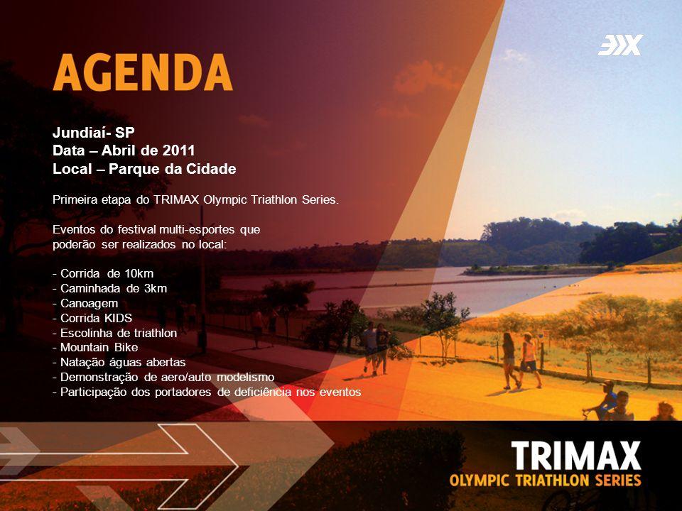 Jundiaí- SP Data – Abril de 2011 Local – Parque da Cidade Primeira etapa do TRIMAX Olympic Triathlon Series. Eventos do festival multi-esportes que po
