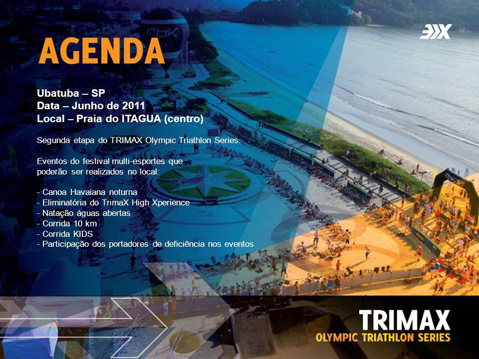 Ubatuba – SP Data – Junho de 2011 Local – Praia do ITAGUA (centro) Segunda etapa do TRIMAX Olympic Triathlon Series. Eventos do festival multi-esporte