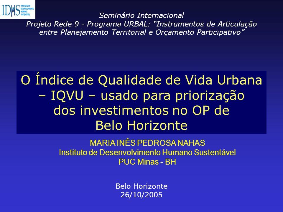 O Índice de Qualidade de Vida Urbana – IQVU – usado para priorização dos investimentos no OP de Belo Horizonte Seminário Internacional Projeto Rede 9