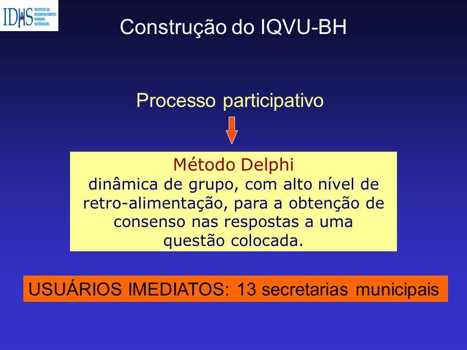 Construção do IQVU-BH Método Delphi dinâmica de grupo, com alto nível de retro-alimentação, para a obtenção de consenso nas respostas a uma questão co