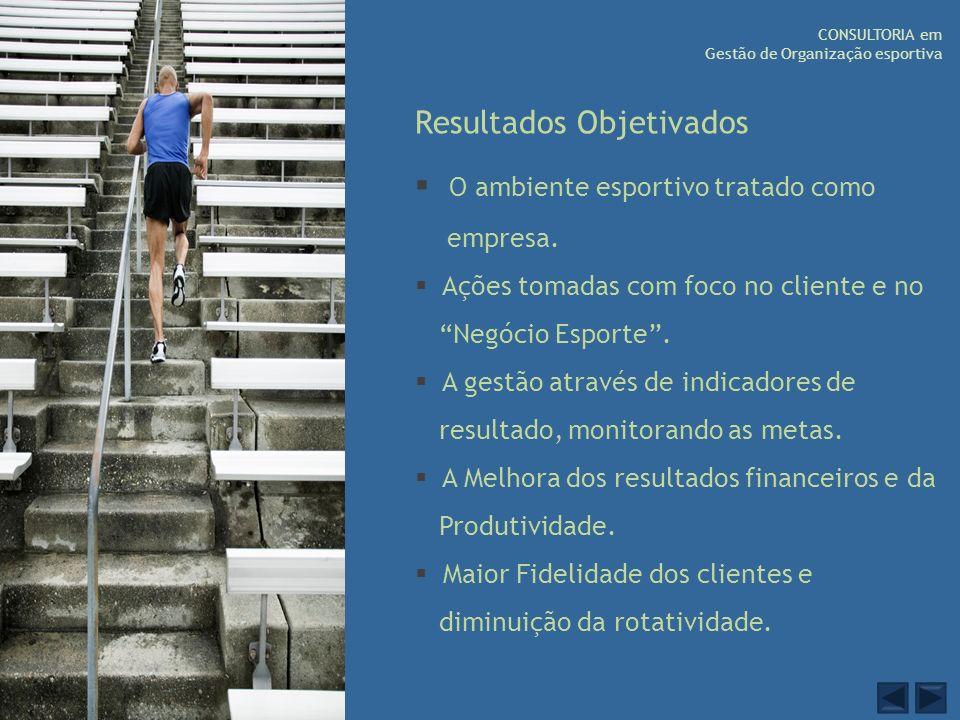 Resultados Objetivados O ambiente esportivo tratado como empresa. Ações tomadas com foco no cliente e no Negócio Esporte. A gestão através de indicado
